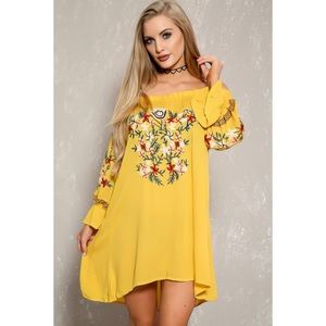 Dresses & Skirts - Sexy Mustard Floral Embroidered Off Shoulder Dress